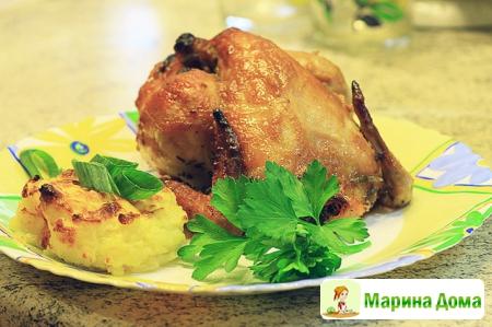 Цыплята-корнишоны в абрикосовой глазури