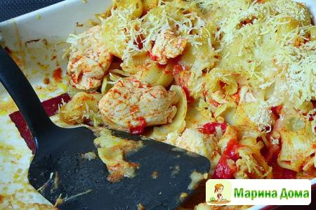 Курица, запеченная по-итальянски, с макаронами