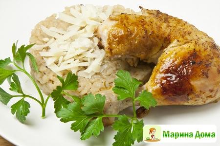 Рис с грибами и чесноком
