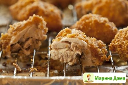 Курица в духовке в сложной панировке