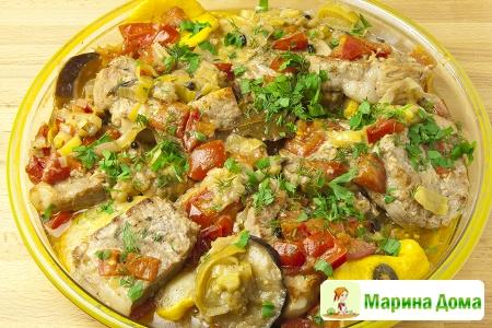 Свинина, тушенная с  баклажанами и патиссонами (кабачками) – Молдавская кух ...