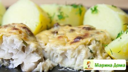 Треска, запеченная  в сливочном соусе с сыром