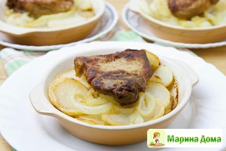 Свинина с картофелем порционная подача