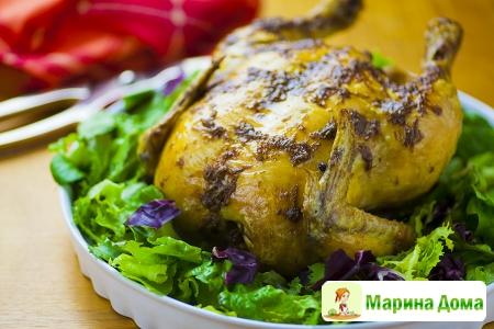 Курица с чесночным маслом и специями