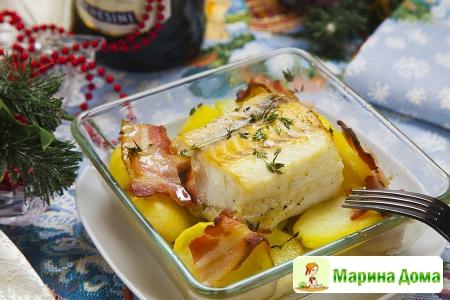 Треска с картофелем и беконом