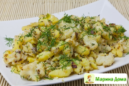 Цветная капуста с картофелем, горчицей и чили