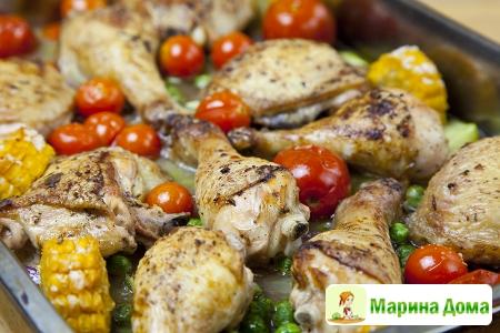 Курица запеченная в духовке с рагу из овощей