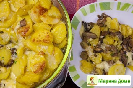 Картофельная запеканка (гратен) с сыром и грибами
