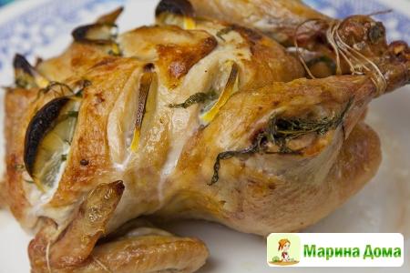 Курица, запеченная с лимоном и тархуном