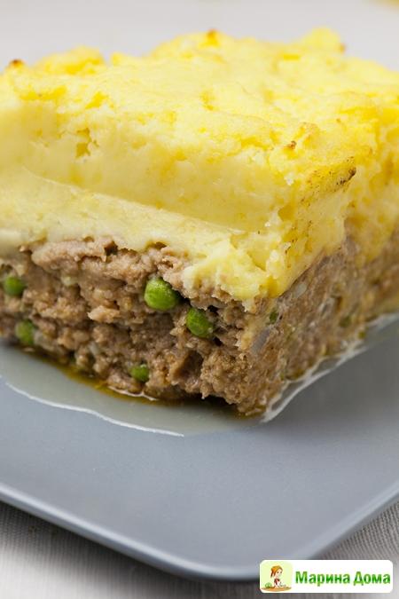 Мясная запеканка с картофельно-сырной корочкой