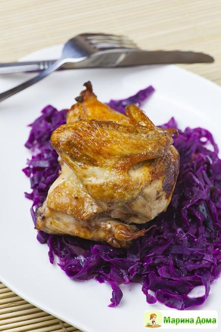 Курица с краснокочанной капустой