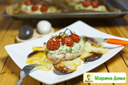 Куриная грудка в итальянском стиле с мягким сыром и шпинатом