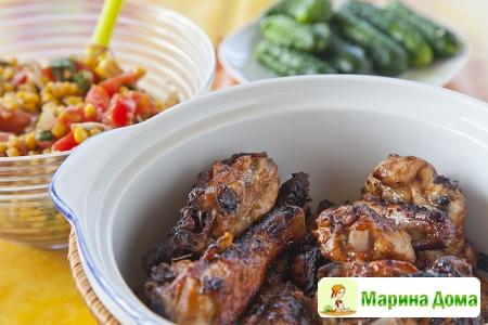 Курица с медом и имбирем, приготовленная на мангале