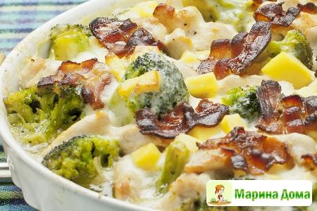 Индейка с брокколи и сырным соусом