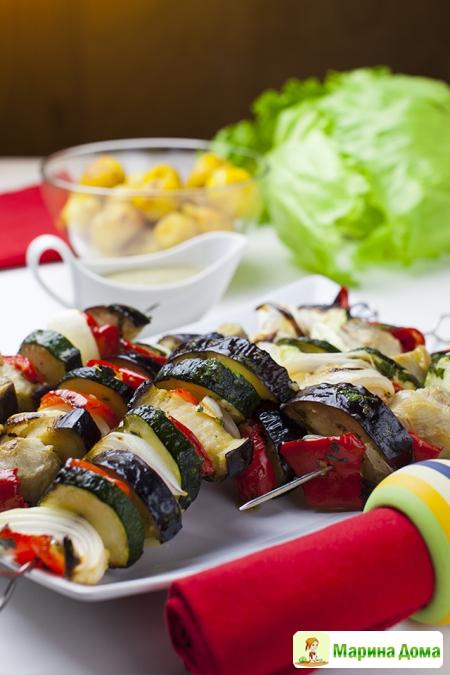 Смешанный овощной шашлык.  Рецепт из моей книжки