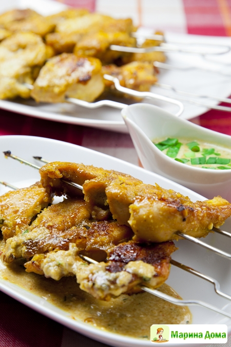 Шашлычки из курицы с ореховым соусом. Рецепт из моей книжки