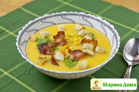 Суп из картофеля с кукурузой и беконом