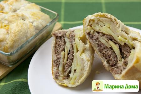 Порционный пирог с мясом и картофелем