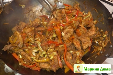 Якиникудон (мясо в воке). Пошаговый рецепт.