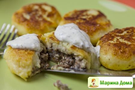 Картофельные зразы с грибной икрой