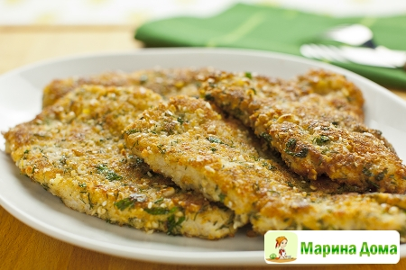 Шницели в панировке из сыра, петрушки и кедровых орехов. Базовый рецепт.